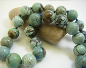 Rare Natural Gemstone Turquoise  Big Beads Own Pattern Hand Knots Handsome Necklace FREE SHIPPING