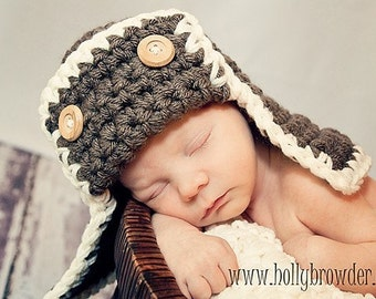 Pilot Flyer Bomber Aviator Hat Newborn Baby Photo prop WALNUT Photography Pilot Hat all babies Infant Girl Boy Photo Shoot The Perfect GIFT