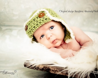 Flyer Hat Newborn Baby Photo prop in Green - Photography Pilot Hat all Babies infant girl boy photo shoot more COLORS available