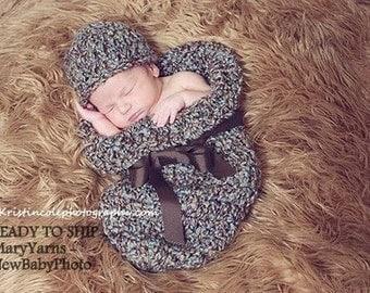 Cocoon Hat Newborn Photo Prop in BROWN BLUE, Photography Baby Hat Cocoon, Hat Cocoon Photo Shoot, Cocoon Hat, Handmade by NewBabyPhoto