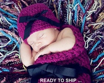 Beanie HAT and Cocoon Baby Newborn Photo Prop WILDBERRY Photography Set 2 pc Infant Girl Babies Photo Shoot all Babies more COLORS available