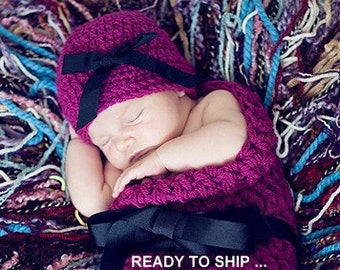 Hat and Cocoon Baby Newborn Photo Prop in Wildberry Photography all Babies infant girl boy photo shoot Newborns The Perfect GIFT New Baby