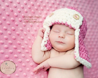 Pilot Aviator Flyer Hat Newborn / Hat Baby Photo prop in PINK / Photography Hat Babies Infants / Photo shoot HAT /The Perfect GIFT Newborns