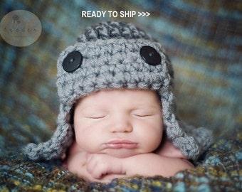 AVIATOR Hat Newborn Baby Photo prop in Gray, Pilot Hat Baby, Photography Hat Newborn, Baby Hat, Bomber Hat, Flyer Hat, Gift Hat New Baby Hat
