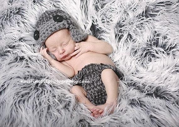 Set Hat Aviator-diaper cover Newborn Photo prop in Gray - 2pcs Photo Shoot Set