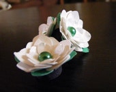 Frosty White Paper Flower Magnets (Set of Three)