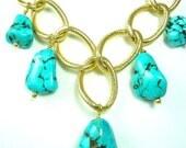 Turquoise Magnesite chunky Bib Necklace & earring set