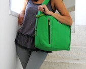 Kelly Green Canvas Hobo Bag. Floral Lining. Contrasting Hoops. Ostrich Print Tan Shoulder Pad. Charm Hobo. SALE and FREE SHIPPING worldwide