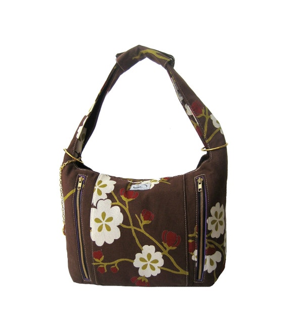 Brown Floral Print Canvas Hobo Bag. Gold Hardware. Purse Feet. Zipper Closure. Feminine &  Modern. Charm Hobo by Raquel Gonzalez on Etsy