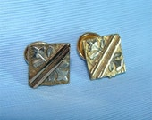 Victorian ANTIQUE 1890's Gold and Silver METAL Cuff Button Links Vintage