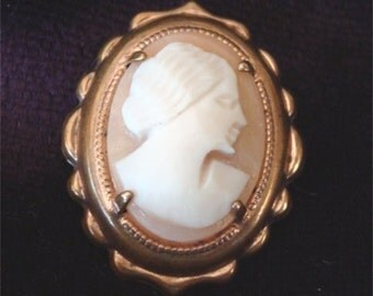 Price REDUCED Vintage Carved Shell CAMEO Pin Brooch No. 1