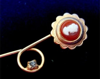 Cameo & AMETHYST SWEET Stick Pin VINTAGE 1940's