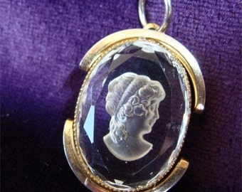 Price REDUCED / Pendant Vintage INTAGLIO Cameo Grecian Lady in CRYSTAL Glass