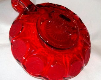 Vintage 1960s FOSTORIA Coin Nappy Handled BOWL in RUBY Red
