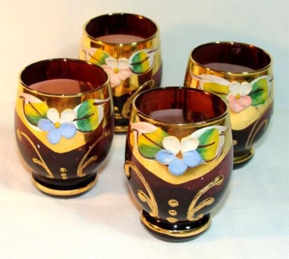 Elegant Set of 4 VINTAGE 1950's Amethyst Purple Wine ITALIAN Glasses