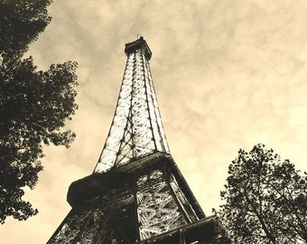 """Fine Art Monochromatic Sepia Architecture Photography of the Eiffel Tower - """"Eiffel Tower at Dusk"""""""