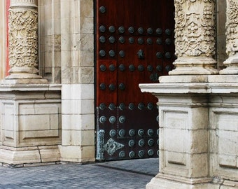 Fine Art Color Architecture Photography of Columns and Door in Sevilla