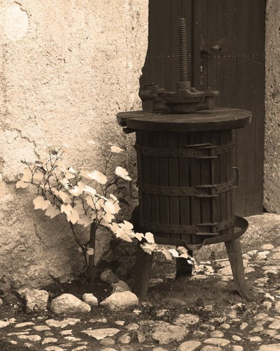Fine Art Sepia Photography of Winepress in Slovenia Vintage Style Print