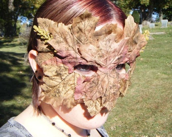 Brown Autumn Leaf Mask with Wheat Accents