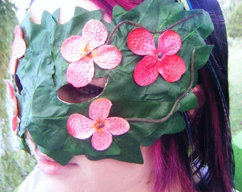Pink Flowers and Ivy Mask