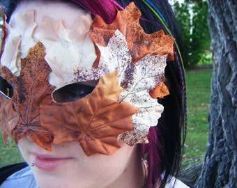 Brown and Orange Autumn Leaf Mask