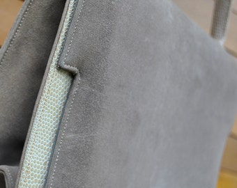 Purse-Sueded: OLIVE SUEDE & LIZARD I. Miller Handbag 1960s