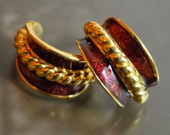SALE ~CRIMSON & GOLD: Enamel 'n Gold Rope Half Circle Post Earrings