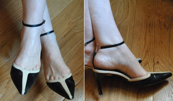 25% SALE Gucci Shoes Black & Ivory Ankle Strap Heels: Metal Icon Ankle-T, 37C/ 6-1/2