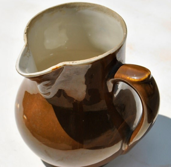 Unusual Rustic Pitcher: Offset Handle, Tobacco Brown Glazed Pottery