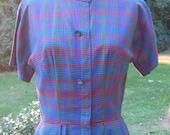 1960s Day Dress / Shirtwaist Dress / Homeroom / Mrs. Cleaver Look /Rockabilly / Back to Class / Vintage Cotton Dress