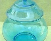 Aquamarine Glass Candy Dish With Lid Lovely Blue Art Glass Apothecary Look Caribbean Sea Featured in Treasury