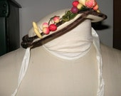 Tan Straw Hat with Velvet Trim and Fruit Detailing Sweet Little Girls Hat Small Straw Hat VINTAGE