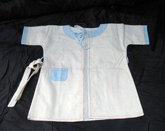 Baby Robe with Belt Too Sweet  Off White Lite Wool Baby Robe with Pale Blue and Pale Pink Accents