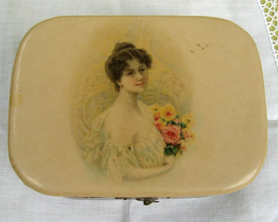 Antique Boudoir Box Pretty Little Jewelry Keepsake Box Victoriana Gibson Girl on Cover Shabby Chic Roses