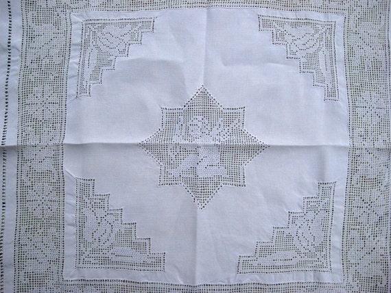 "Cutwork  Antique Linen Heirloom Linen Hand Done Cutwork Vintage Linen 27"" by 27""  Nice Bridal Gift"