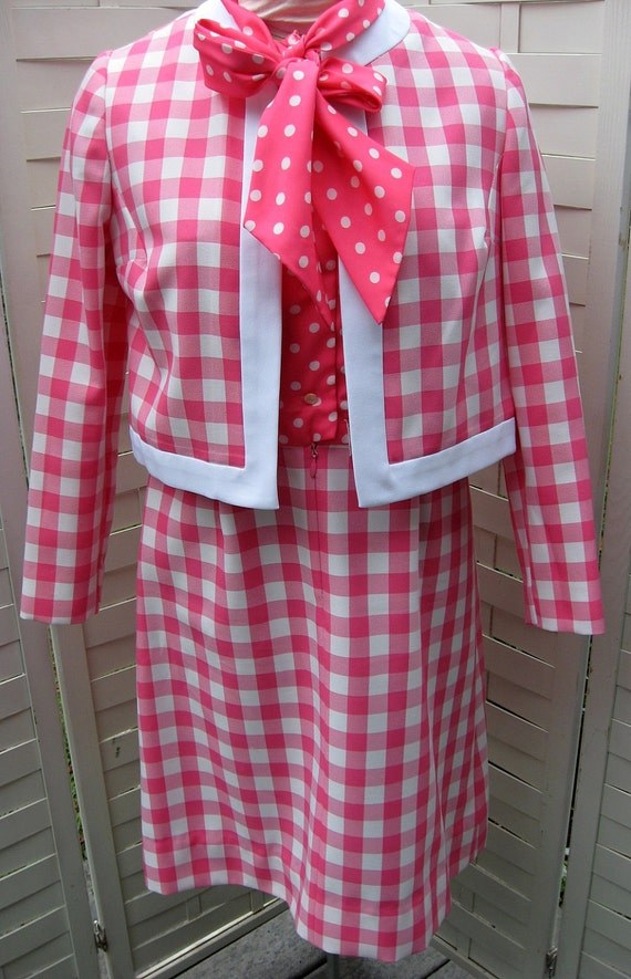 RESERVED FOR JONOLE Polka Dots and Plaid Dress and Jacket Designer Quality and Style Pink Perfection Preppy Look  Suitdress