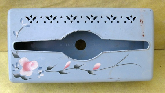 Painted  flower Tissue box wall mount 1950's 1960's Detecto Scales Shabby Chic Country Cottage