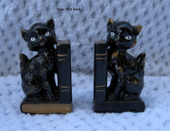 Cat Bookends Black Ceramic Kitties with Gold Accents Stamped Japan Kitchy Desk Accessory Kitty Collector
