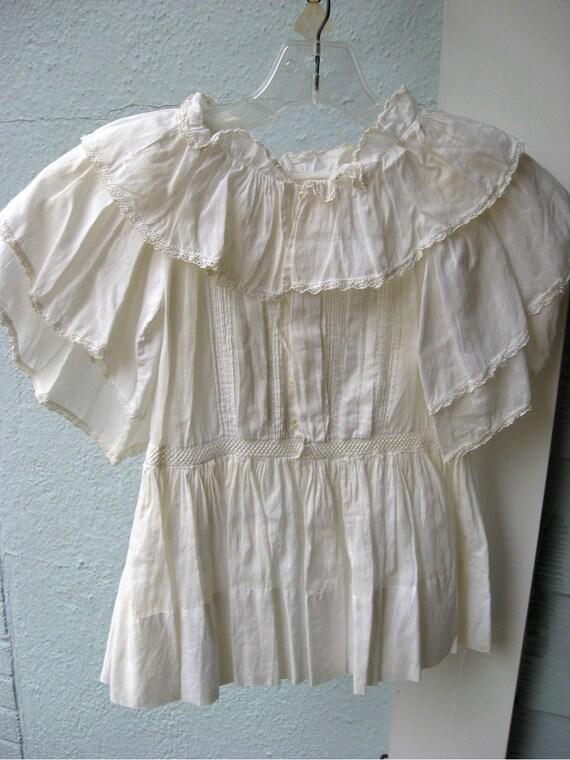 Flower Girl Dress Lovely Crochet Trim on Sleeves and Collar Hems Crisp White Kerchief Linen Victorian Look