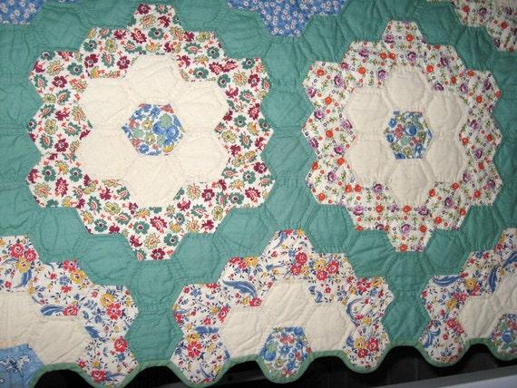 Vintage Quilt Grandmother 39 S Flower Garden Quilt All Hand