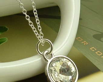 Jewelry Necklace, Clear Crystal Necklace, Clear Swarovski Crystal Round Rivoli Pendant On Sterling Silver Chain Necklace, Gift For Her