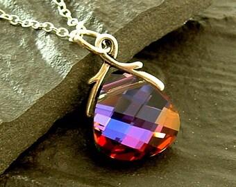 Swarovski Jewelry, Swarovski Crystal Necklace, Multicolor Swarovski Crystal Sterling Silver Necklace