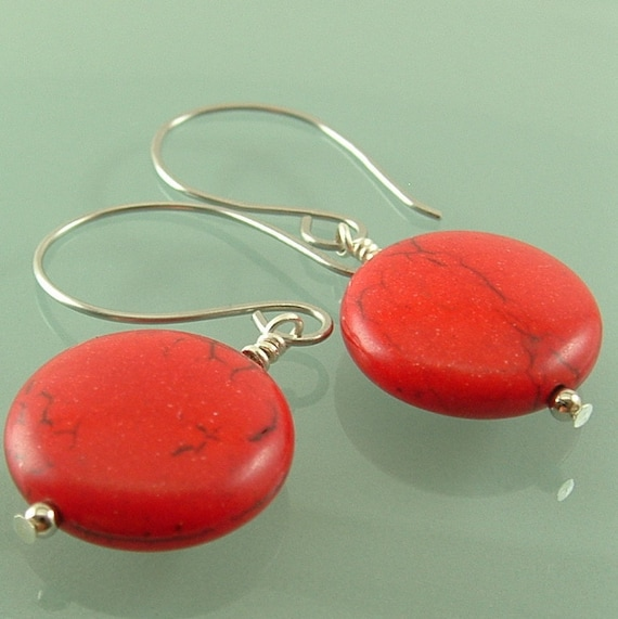 Jewelry , Red Jewelry , Red  Earrings - Red And Silver Stone  Earrings , Stone Jewelry , Gift For Her , Bridesmaids Gift