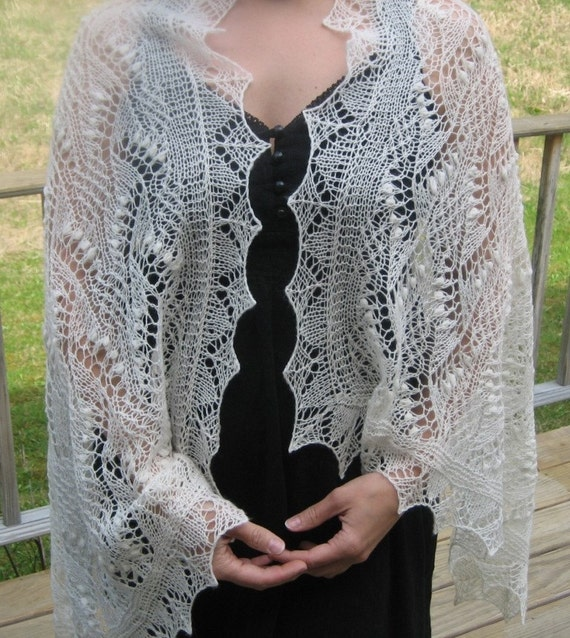 Knitted Shawl Estonian Lace Style Maikell Shawl by AllKnittedLace