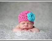 Custom Little Raspberry Spring Fling Hat with Turquoise 3 Layer Flower