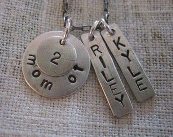Silver stamped necklace Mom of 2 necklace sterling silver, children names