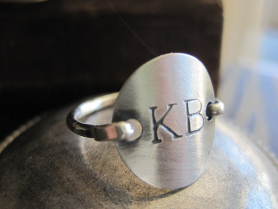 Stamped Ring Sterling silver Monogram, Personalized Inital Ring