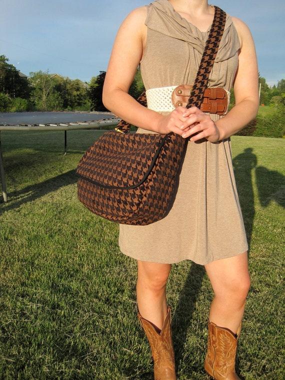 Black and brown Houndstooth  messenger bag purse computer bag