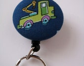 Tow Truck on Blue Fabric Covered Badge Reel, ID Holder