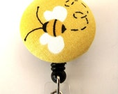 HoneyBee Drawing-- Fabric Covered Badge Reel, ID Holder OR Keychain